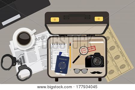Vector illustration top view detective briefcase with camera passport and ticket glasses and mustache file folder with top secret and notepad. Background wallpaper detective table.