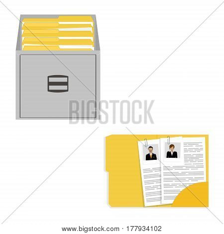 Vector illustration opened card catalog with file folders. Office furniture. Metal filing cabinet. Documents in folder.