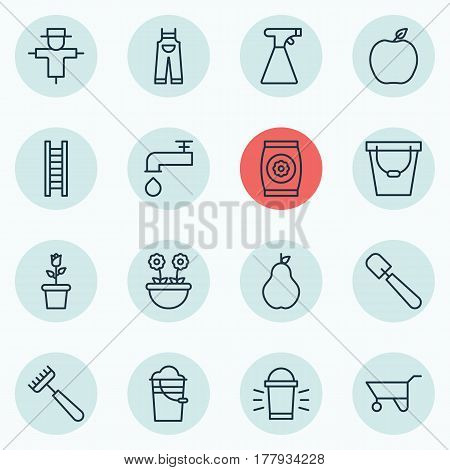 Set Of 16 Farm Icons. Includes Stairway, Wheelbarrow, Bucket And Other Symbols. Beautiful Design Elements.