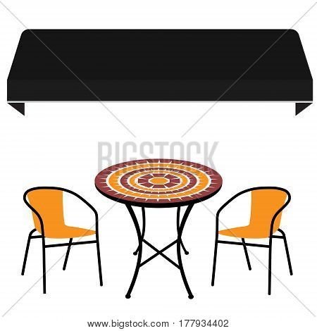 Black shop window awning vintage outdoor table and two chairs. Round table and chair vector icon. Restaurant furniture