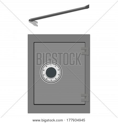 Vector illustration breaking into bank metal safe with crowbar. Thief equipment