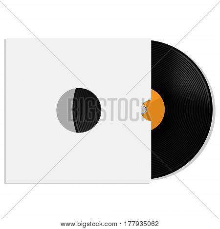 Vector illustration of orange vinyl record with white blank paper cover. Record sleeve with vinyl disc