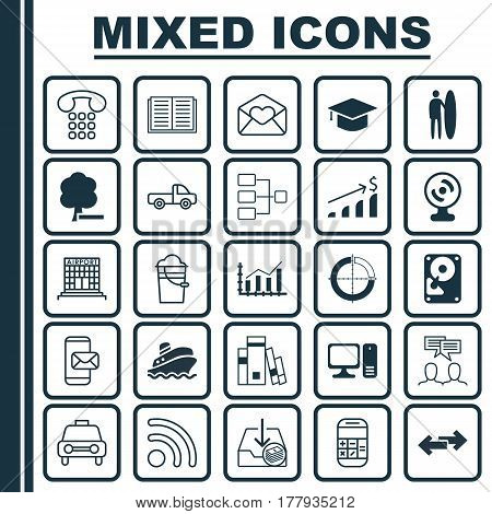 Set Of 25 Universal Editable Icons. Can Be Used For Web, Mobile And App Design. Includes Elements Such As Callcentre, Shipping Tour, Wifi And More.