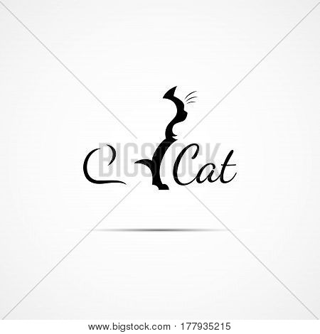 Logo design template with a silhouette of a cat. Vector illustration.