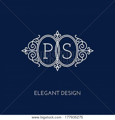 Simple and elegant monogram design template for two letters P S. Vector illustration.