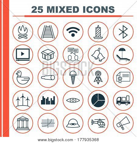 Set Of 25 Universal Editable Icons. Can Be Used For Web, Mobile And App Design. Includes Elements Such As Woman Cap, Bonfire, Wireless Connection And More.