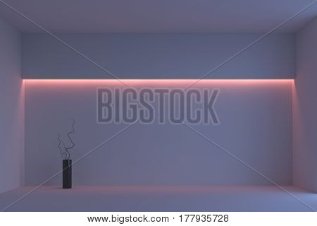 white minimalist room with pink backlight and vase with branches. 3d rendering
