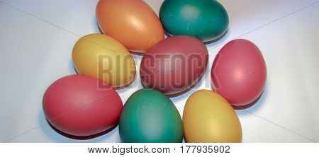 Background of Easter eggs - colourful natural eggs