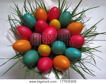 Traditional colourful easter eggs in a basket - eastern European