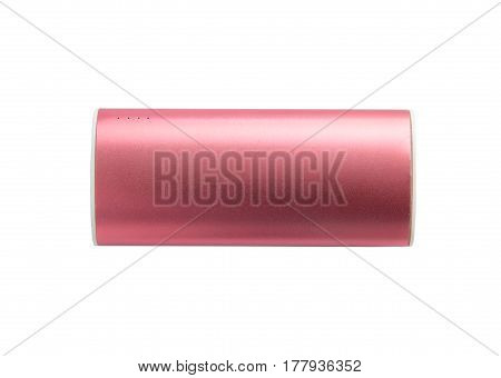 Pink portable power bank for charging mobile devices isolated on white background.