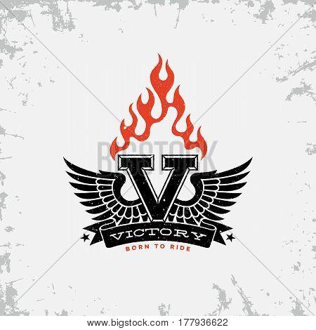 Vintage label with wings flame letter V and ribbon on grunge background for t-shirt print poster emblem. Vector illustration.