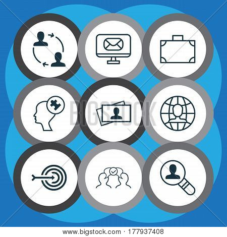 Set Of 9 Business Management Icons. Includes Open Vacancy, Cooperation, Cooperation And Other Symbols. Beautiful Design Elements.