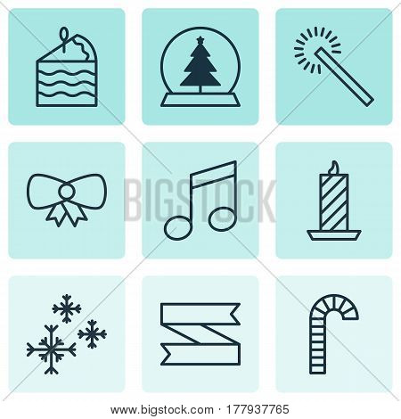 Set Of 9 New Year Icons. Includes Lollipop, Fire Wax, Magic Sphere And Other Symbols. Beautiful Design Elements.
