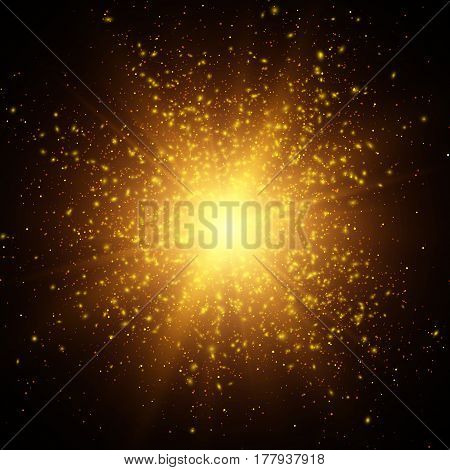 Light effect, Star burst with sparkles, Gold glitter texture
