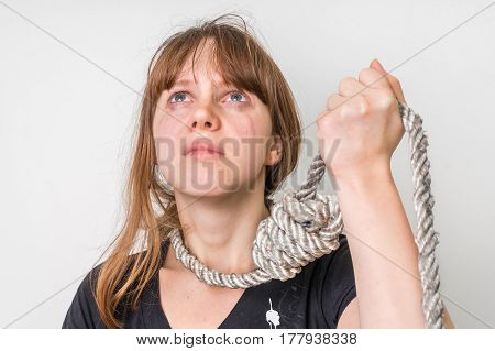 Woman With A Noose Around Her Neck - Suicide Concept