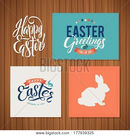 Happy Easter Calligraphy Greeting Card Set. Hand Lettering. Holiday Greetings. Bunny Eggs and Chicken.