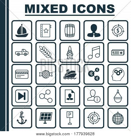 Set Of 25 Universal Editable Icons. Can Be Used For Web, Mobile And App Design. Includes Elements Such As Vehicle Car, Skip Song, Anchor And More.