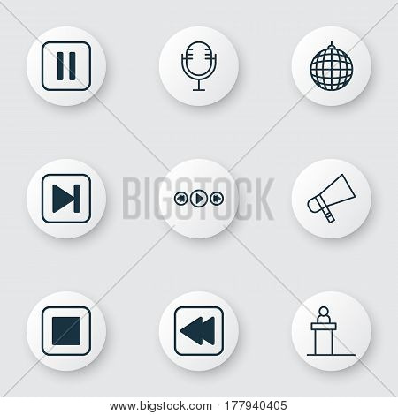 Set Of 9 Multimedia Icons. Includes Mike, Dance Club, Skip Song And Other Symbols. Beautiful Design Elements.