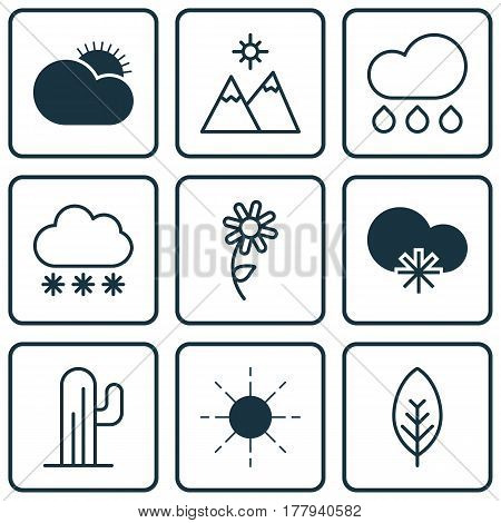 Set Of 9 Harmony Icons. Includes Snowstorm, Tree Leaf, Cactus And Other Symbols. Beautiful Design Elements.