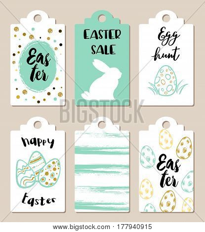 Set of green and white Easter tags for holiday sale
