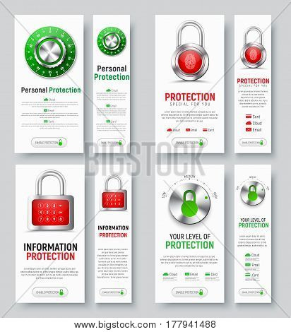 Design Of White Vertical Web Banners To Protect Information.