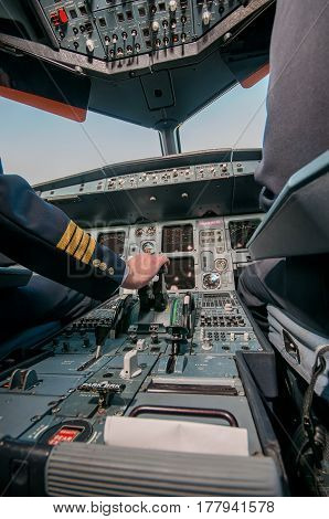 plane inside the cockpit closeup  airplane, aircraft,