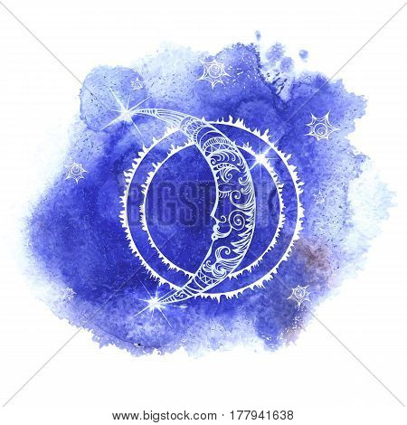 Illustration of a moon with human face on blue watercolor background
