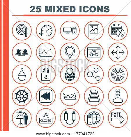 Set Of 25 Universal Editable Icons. Can Be Used For Web, Mobile And App Design. Includes Elements Such As Publication, Travel Clock, Unlock And More.