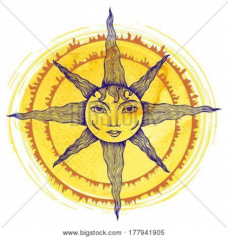 Illustration of a sun with human face on yellow watercolor background
