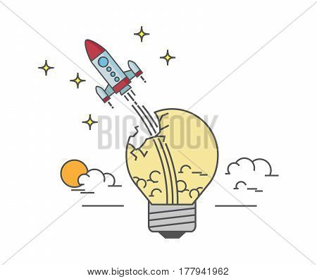 Flat design of rocket launch from a light bulb. Business Start Up Concept