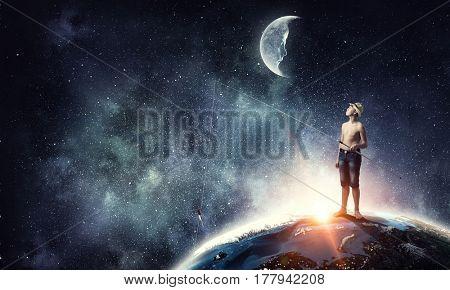 Kid with fishing rod . Mixed media