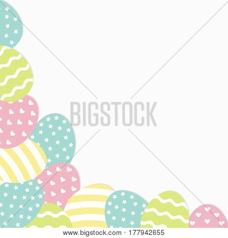 Painted egg corner frame. Painting shell. Heart star line shape pattern Light color. Happy Easter. Greeting card template. White background. Isolated. Flat design. Vector illustration