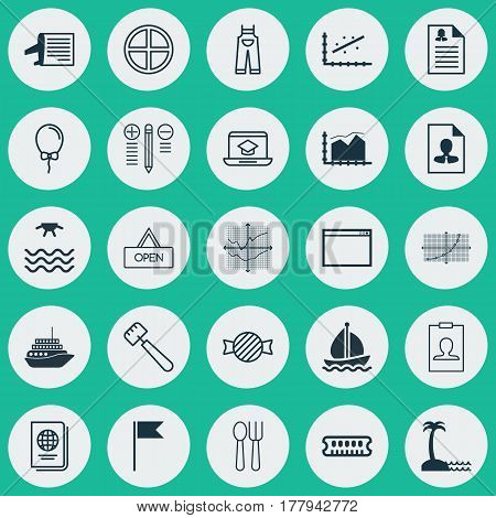 Set Of 25 Universal Editable Icons. Can Be Used For Web, Mobile And App Design. Includes Elements Such As Spatula, Board, Cutlery And More.