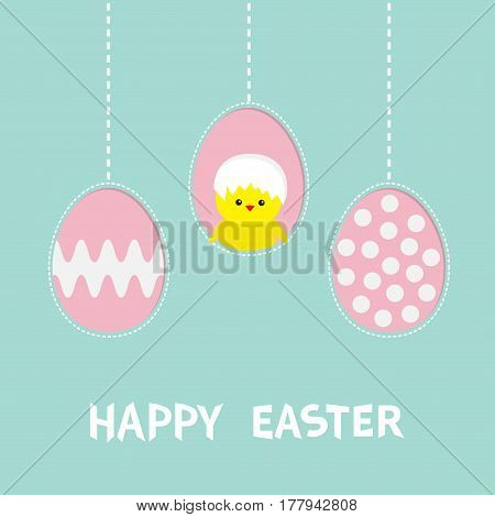 Three painting egg. Happy Easter text. Hanging painted egg set. Chicken baby bird with shell. Dash line. Greeting card. Flat design style. Cute decoration element. Vector illustration