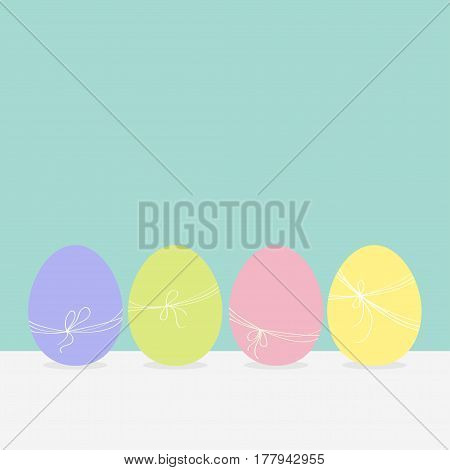 Colorful painting Easter egg set. Row of painted eggs shell with thread and bow. Light color. Blue background. Isolated. Greeting card template. Flat design. Vector illustration