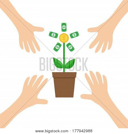 Four Hands arm reaching to Growing money tree shining coin with dollar sign Plant in the pot. Financial growth concept. Successful business icon. Flat design. White background. Isolated. Vector