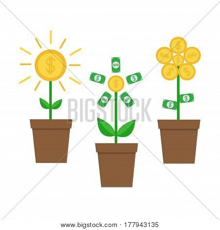 Growing money tree shining coin with dollar sign set. Plant in the pot. Financial growth concept. Successful business icon. Flat design. Isolated. White background. Vector illustration