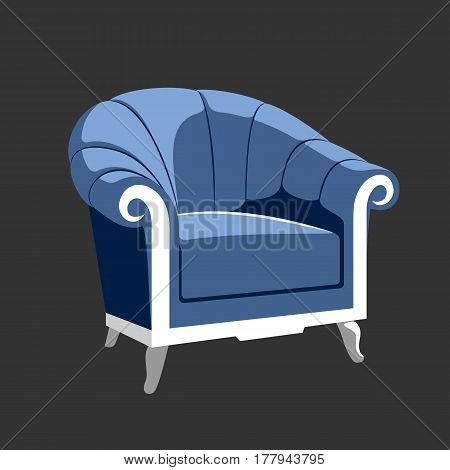 Riverside Classic Royal armchair. French Baroque furniture. Rococo armchair vector illustration isolated on gray