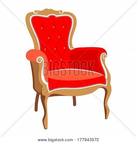 French Classic Barocco red armchair vector illustration