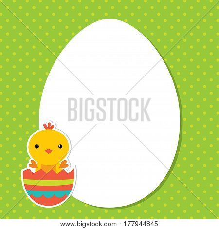 Easter card with a baby chick in a broken egg