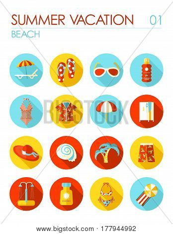 Beach vector flat icon set. Summer time. Vacation