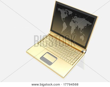 3d gold laptop on white background.