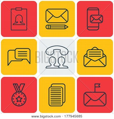 Set Of 9 Social Icons. Includes Edit Mail, Internet Site, Badge And Other Symbols. Beautiful Design Elements.
