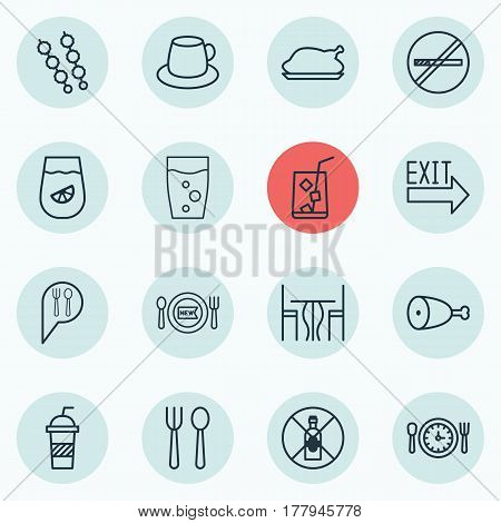 Set Of 16 Cafe Icons. Includes Coffee Cup, Stop Smoke, Soda Drink And Other Symbols. Beautiful Design Elements.
