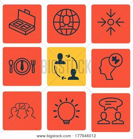 Set Of 9 Business Management Icons. Includes Human Mind, Global Work, Dialogue And Other Symbols. Beautiful Design Elements.