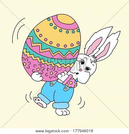 Easter bunny holding big colorful easter egg