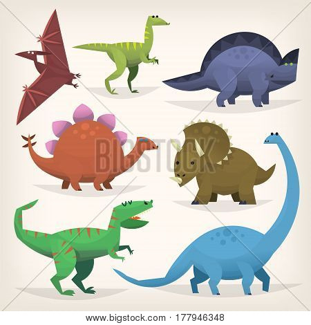 Cute cartoon dinosaurs from prehistoric jurassic period. Isolated illustrations