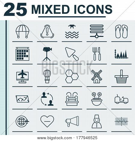 Set Of 25 Universal Editable Icons. Can Be Used For Web, Mobile And App Design. Includes Elements Such As Departure Information, Flight Basket, Camcorder And More.