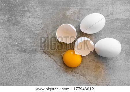 White Eggs On A Concrete Table