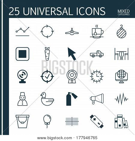 Set Of 25 Universal Editable Icons. Can Be Used For Web, Mobile And App Design. Includes Elements Such As Snow Person, Recurring Program, Root And More.